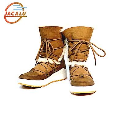 Jacalu 高筒麂皮雪靴6329.2/J 駝色