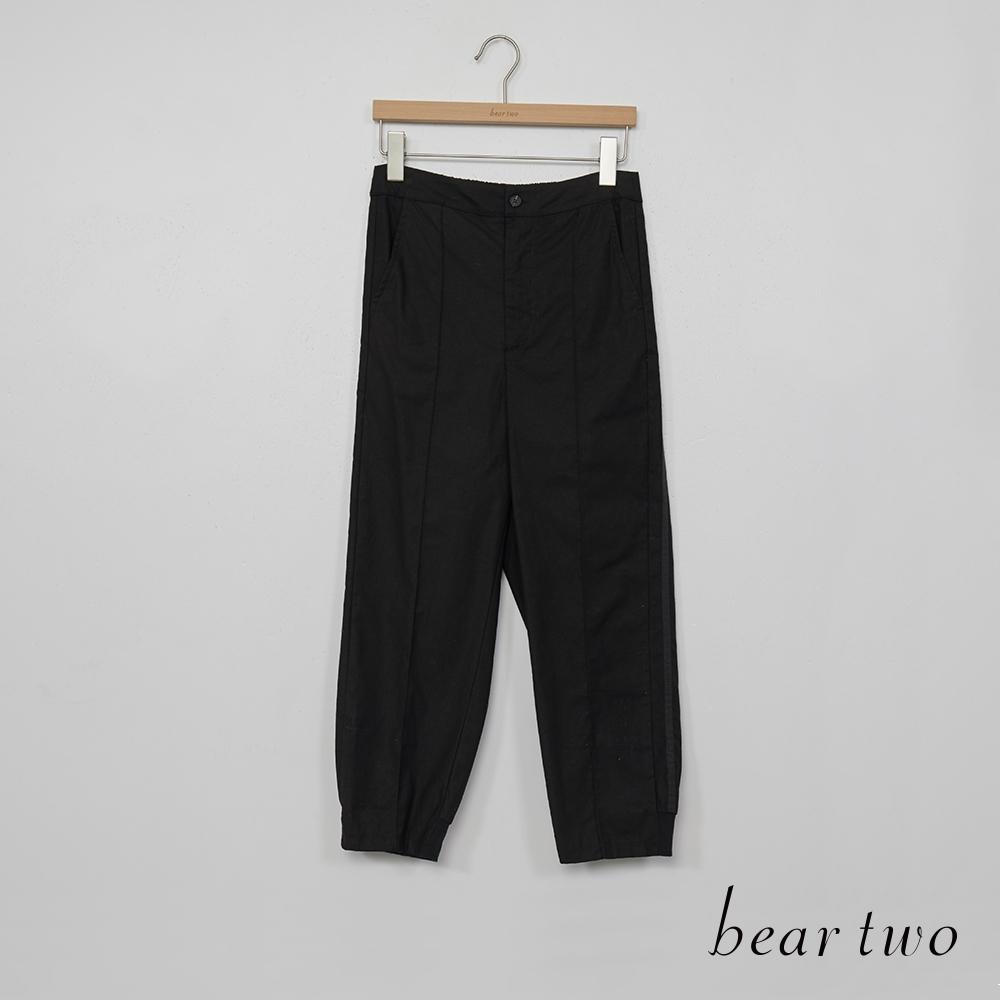 bear two-率性前壓線縮口長褲-黑