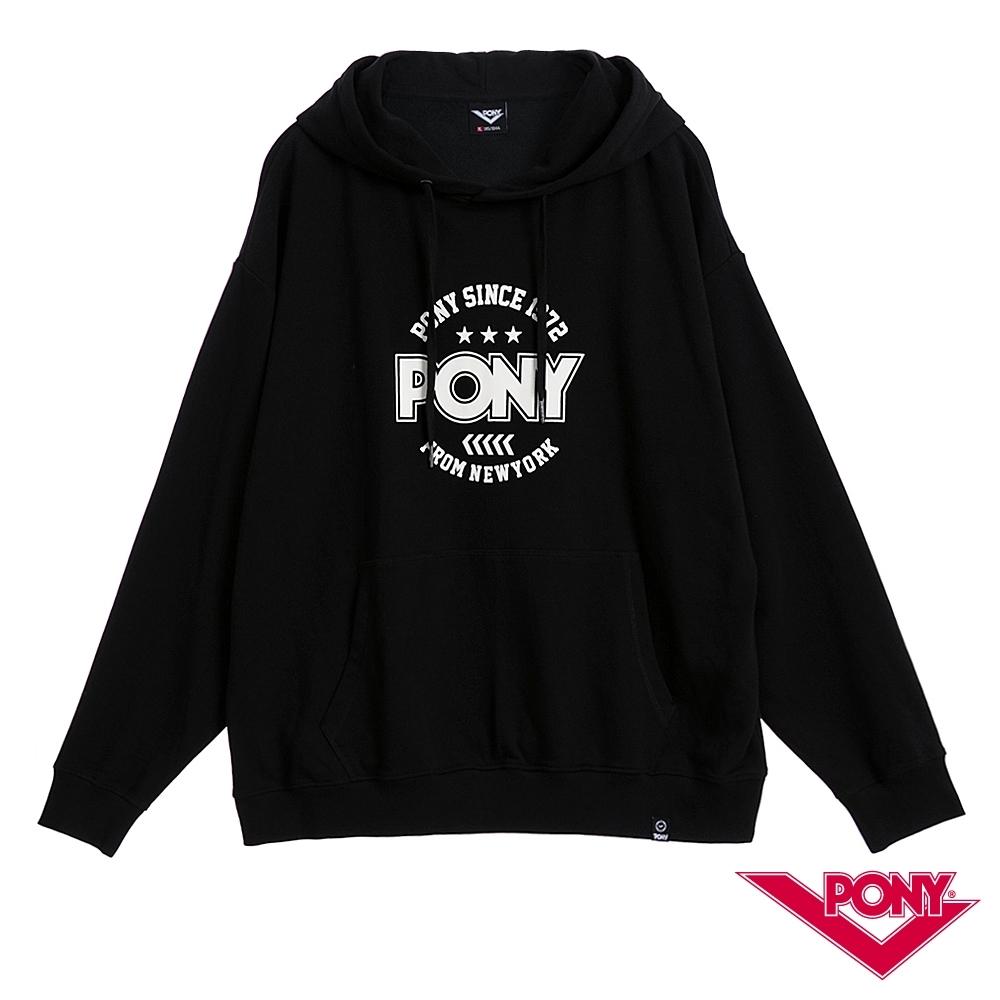 【PONY】長袖連帽大學T恤 情侶款 帽T T恤 男款 女款 黑