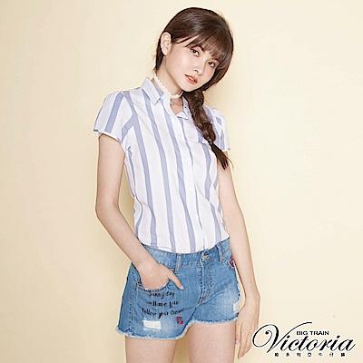 Victoria 印繡割破牛仔短褲-女-淺藍