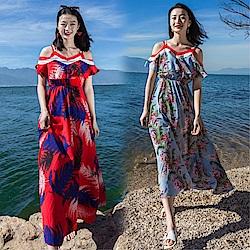 DABI 荷葉邊V領海邊度假露肩沙灘吊帶波西米亞長裙無袖洋裝