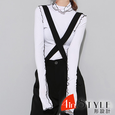 個性撞色花邊領長袖上衣 (共二色)-4inSTYLE形設計