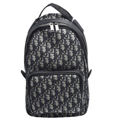 Dior 經典OBLIQUE緹花帆布材質拉鍊斜背包(米/黑色)