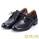 ORIN 懷舊復古學院風 雙色蠟感牛皮粗跟鞋-黑色 product thumbnail 1