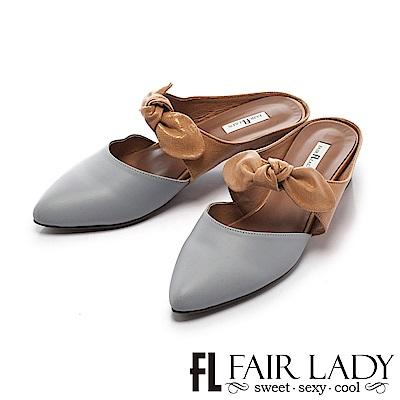 Fair Lady Hi spring-俏麗蝴蝶結撞色粗跟鞋 藍