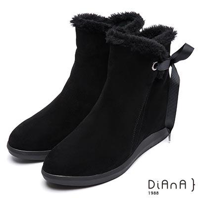 DIANA 俏麗有型—暖毛綁帶蝴蝶結雪靴-黑