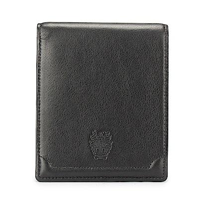 DAKS經典家徽壓紋軟皮革零錢袋短夾-黑色
