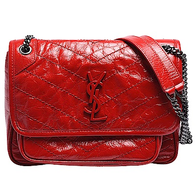 YSL NIKI BABY系列紅色金屬LOGO霧銀鍊牛皮揉製漆皮翻蓋肩/斜背包(紅) @ Y!購物