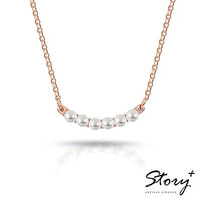 STORY故事銀飾-Quartet四重奏-施華洛世奇珍珠項鍊(玫瑰金)