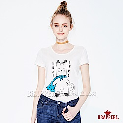 BRAPPERS 女款 披風喵印刷短袖T恤-白