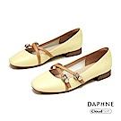 達芙妮DAPHNE 低跟鞋-優雅珠飾交叉繫帶瑪莉珍低跟鞋- 黃色