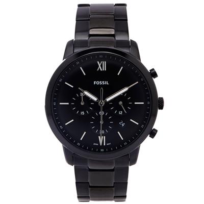 FOSSIL 黑色時尚風三眼計時的皮帶手錶(FS5474)-黑面X黑色/44mm