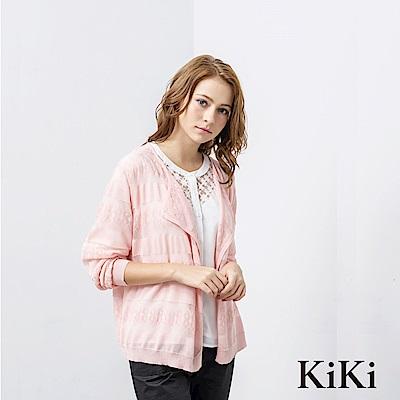 KiKi INLook 透膚蕾絲短版罩衫外套(粉色)