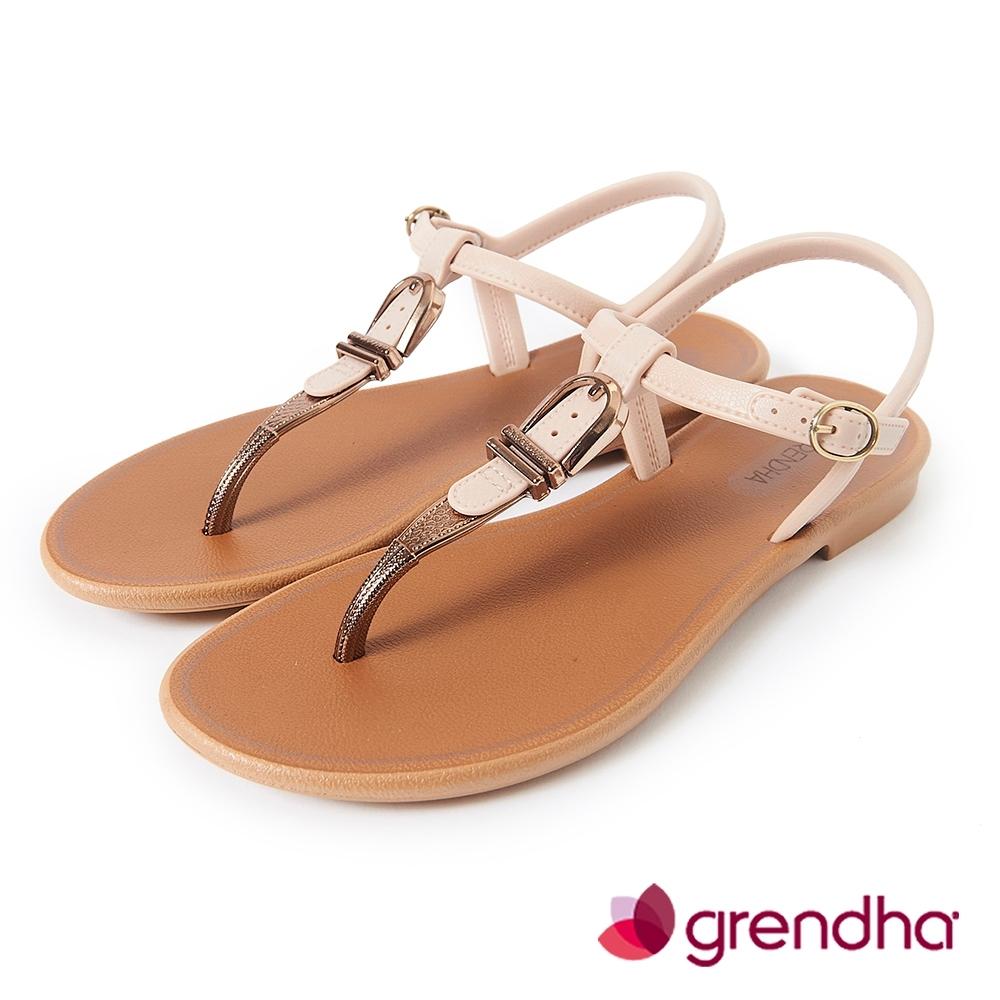 Grendha 金屬扣環T字帶平底涼鞋-米白