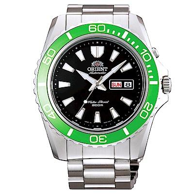 ORIENT東方200m潛水機械錶手錶FEM75003B-黑X綠框/44mm