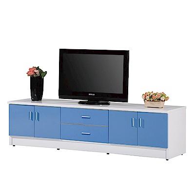 文創集 蘿倫環保7尺塑鋼四門二抽電視櫃/視聽櫃(四色)-210x48x60cm-免組