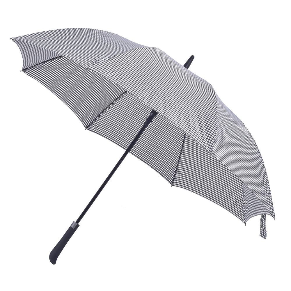 2mm 日系無印風 彎手柄高爾夫防風直傘 (黑白格紋)