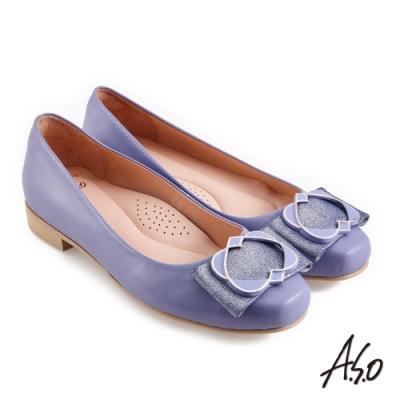 A.S.O 職場通勤 健步通勤精緻飾釦低跟鞋-淺紫