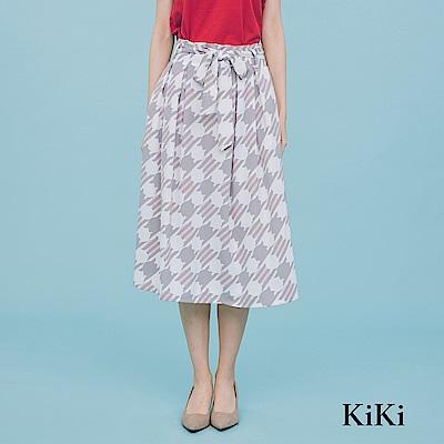 【KiKi】幾何印花綁結-長裙(共二色)
