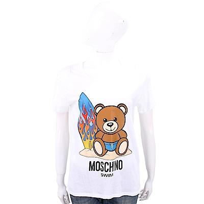 MOSCHINO Swim 沙灘衝浪泰迪熊寶寶白色棉質T恤