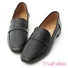 D+AF 質感風格.復古方頭低跟樂福鞋*黑