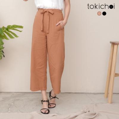 東京著衣 氣質穿搭高含棉腰圍綁帶長褲-S.M.L(共二色)
