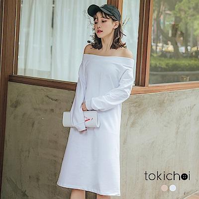 東京著衣-百搭簡約鬆緊一字領棉質洋裝(共兩色)