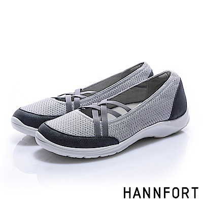HANNFORT EASY WALK交叉彈性帶氣墊健走鞋-女-輕盈灰