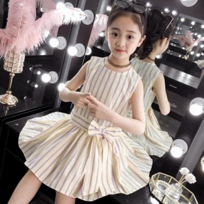 小衣衫童裝 中大童夏季氣質無袖豎條紋連身裙洋裝1090325