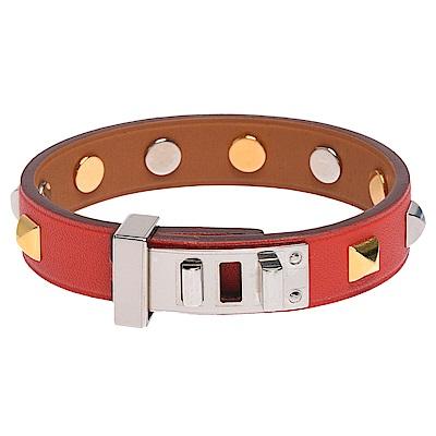 HERMES Mini Dog銀色轉釦方形雙色鉚釘裝飾Swift小牛皮手環(茄紅)