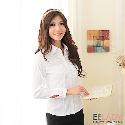 EELADY-雙排壓摺長袖襯衫(白色)