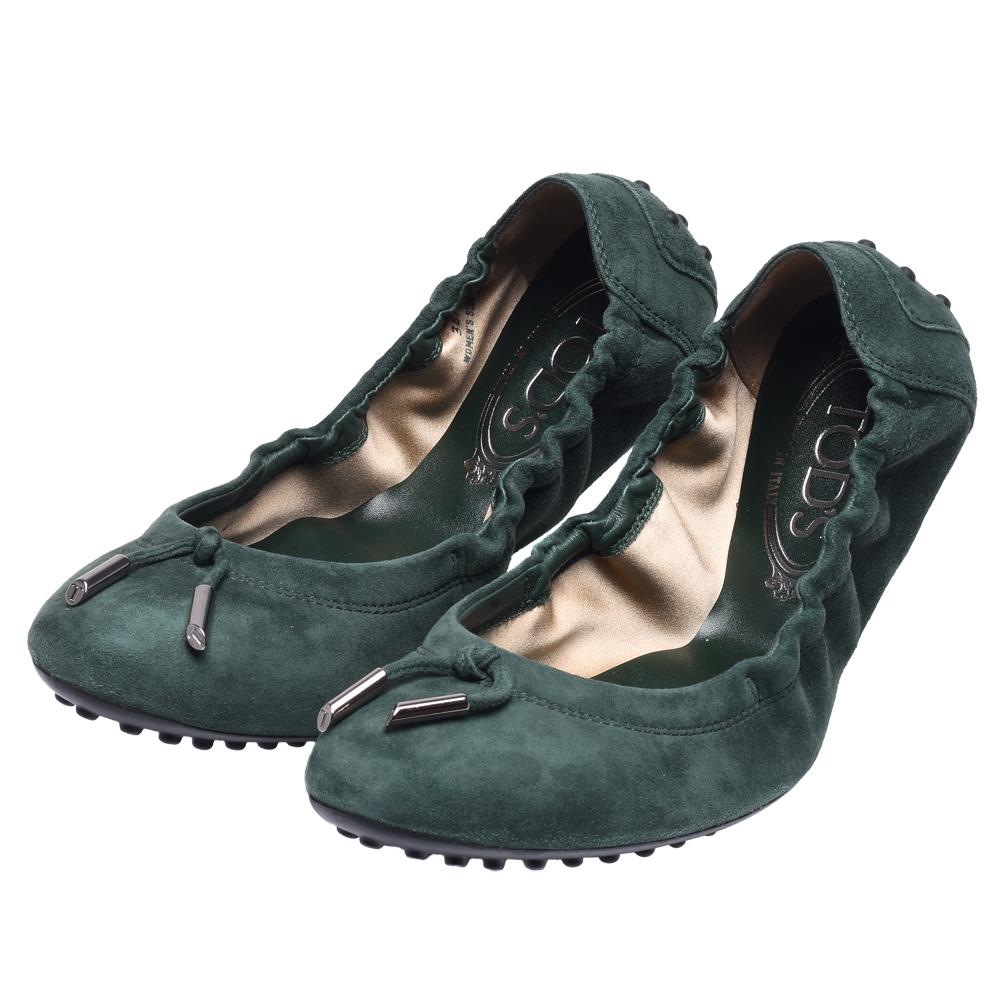 TOD'S 經典弧形麂皮芭蕾舞豆豆鞋(綠)