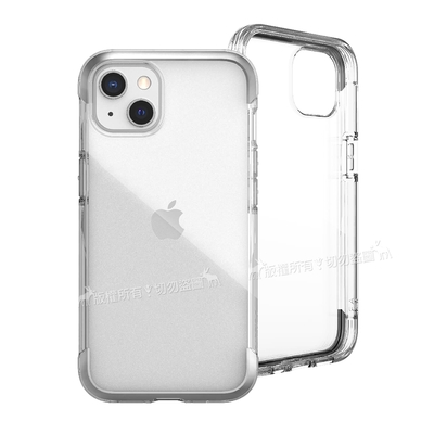DEFENSE 刀鋒AIR iPhone 13 6.1吋 金屬防撞邊框 減震氣囊防摔殼(清透銀)