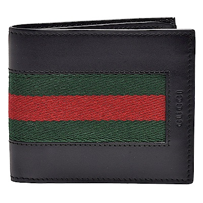 GUCCI 經典品牌字母烙印綠紅綠織帶滑面小牛皮折疊短夾(黑-8卡)
