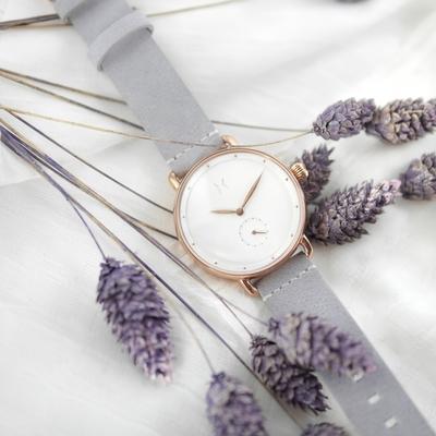 MVMT / 獨立秒針視窗 礦石強化玻璃 真皮手錶-白x玫瑰金框x灰/36mm