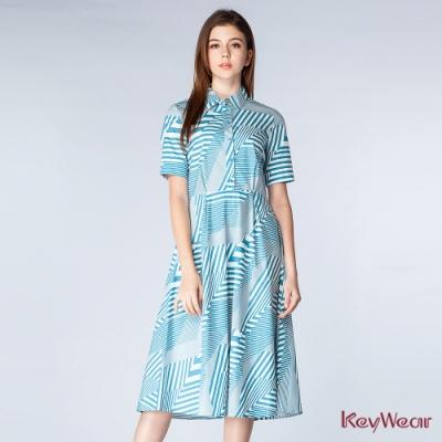 KeyWear奇威名品    襯衫領短袖收腰洋裝-灰藍色