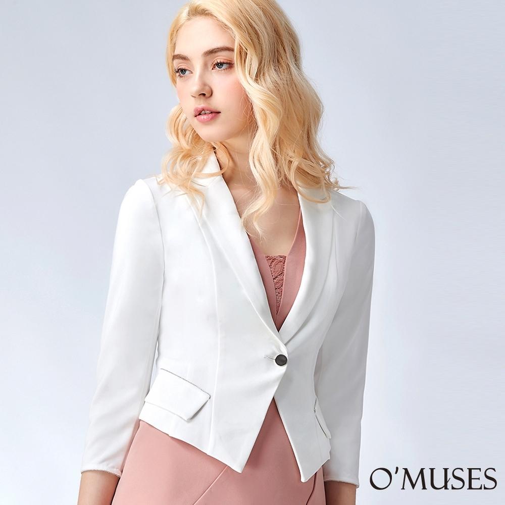 OMUSES V領排珠七分袖西裝外套