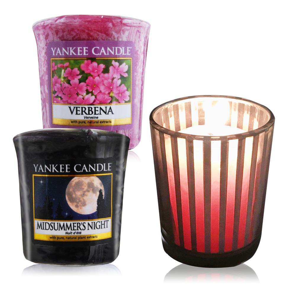YANKEE CANDLE 香氛蠟燭-仲夏之夜+馬鞭草49gX2+祈禱燭杯