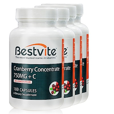 美國BestVite 必賜力高濃縮蔓越莓膠囊4瓶組 (100顆/瓶)