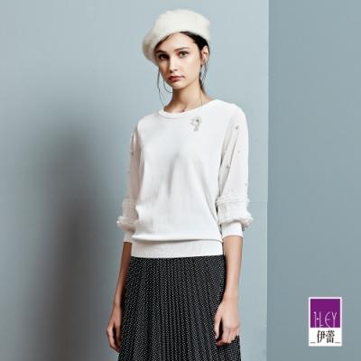 ILEY伊蕾 氣質針織拼接雪紡針織上衣(白)