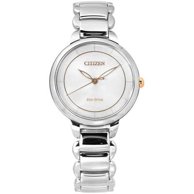 CITIZEN L 光動能 藍寶石水晶玻璃 日本機芯 不鏽鋼手錶-銀色/31mm