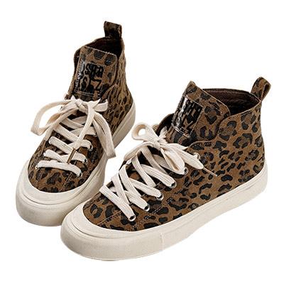 Robinlo 穿搭必備豹紋真皮高筒休閒鞋 卡其