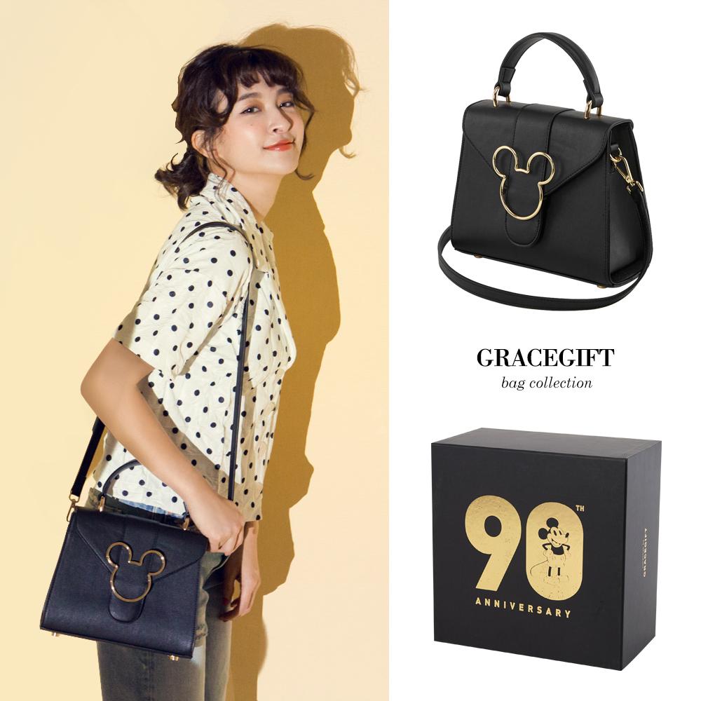 Disney collection by grace gift-米奇頭造型金屬側背包