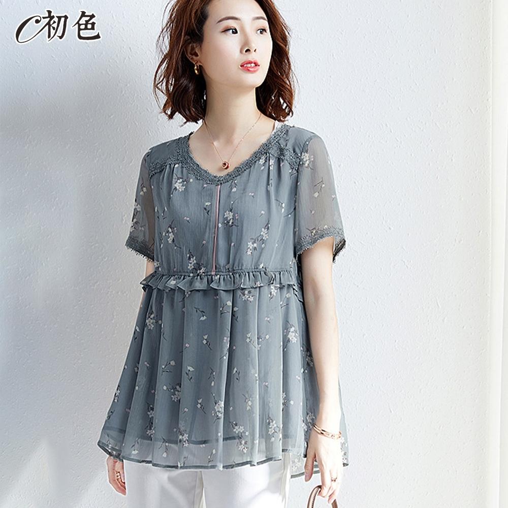 初色  拼接蕾絲印花雪紡上衣-藍灰色-(M-2XL可選)