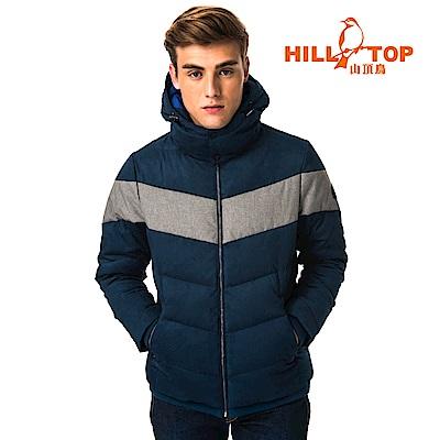 【hilltop山頂鳥】男款超潑水保暖蓄熱羽絨仿麂皮短大衣F22MY5月光藍