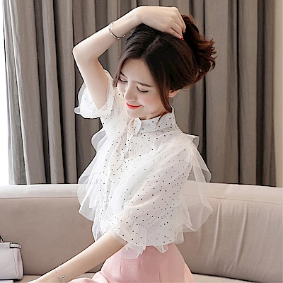 DABI 韓系圓點雪紡衫網紗拼接短袖上衣