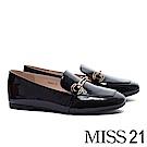 低跟鞋 MISS 21 現代摩登飾釦方頭樂福低跟鞋-黑
