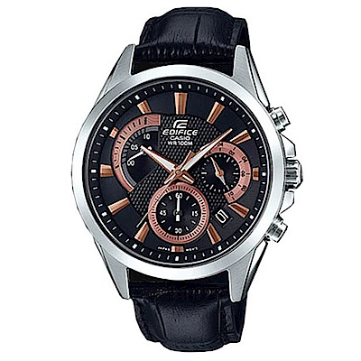 CASIO 典藏賽車設計風格皮帶腕錶-黑x玫瑰金(EFV-580L-1A)/42mm