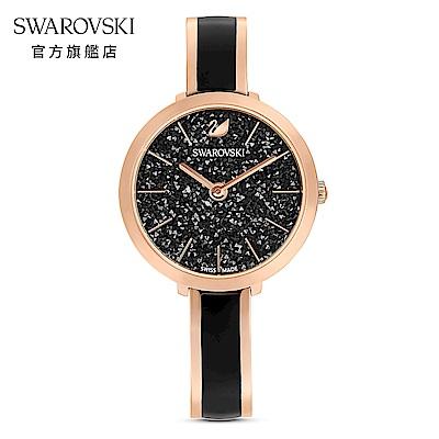 SWAROVSKI 施華洛世奇 CRYSTALLINE DELIGHT 玫金色亮澤黑璀璨腕錶