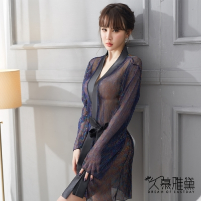 性感睡衣 流光溢彩閃亮輕透薄紗外套。黑色 久慕雅黛